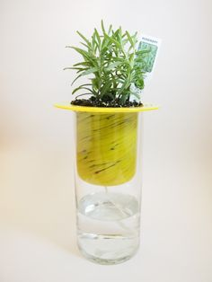 Yellow self watering planter
