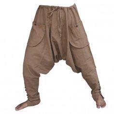 Pantalones Sarouel - algodón - marrón