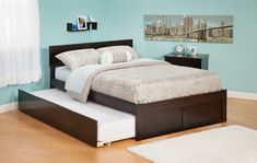 Interesting Queen Trundle Bed With Cushions And Comforter