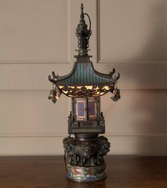 Chinese Pagoda Lantern, c. Chinese Buildings, Chinese Pagoda, Chinese Lanterns, Home Lighting, Decoration, Enamel, Table Lamp, Bronze, Home Decor