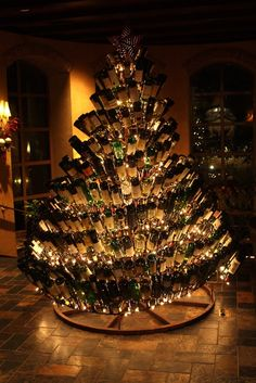 Wine bottle Christmas tree! HAPPY HOLIDAYS!!! For great wine and gift ideas click here: http://www.wineshopathome.com/hnhwine