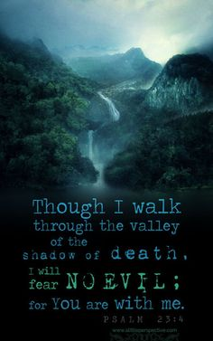 Psalms 23:4 ~Yea, though I walk through the valley of the shadow of death, I will fear no evil: for thou art with me: thy rod and thy staff they comfort me.