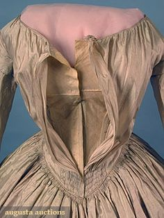 SILK DAY DRESS, c. 1845 1-piece pale blush shot silk, front closing w/ fan gathered bodice, bell sleeve, boned & lined in polished cotton