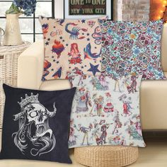Find More Cushion Cover Information about Colorful Skull Print Christmas Linen Cushion Cover for Sofa Dance Mermaid Pattern Seat Cushions New Year Home Decor Xmas Gift,High Quality cover for nokia x6,China cushion cover pattern Suppliers, Cheap cushion cover silk from The Home Shop on Aliexpress.com