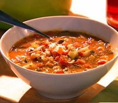 Tuscan vegetable soup.Italian soup with vegetables and herbs.