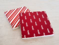 Rustic Christmas Marble Coasters Christmas Coasters by DeskCandy