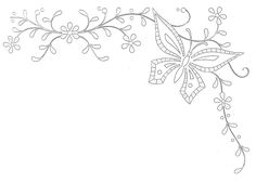 Broderie d'Antan - mariposas Embroidery template; floral border with butterfly
