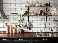 Black kitchen with subway tiles and open shelves  ~ Great pin! For Oahu architectural design visit http://ownerbuiltdesign.com