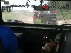 Inside the Jeep.