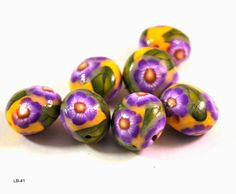 Purple Flower Handmade Polymer Clay Beads, Polymer Clay Beads for Sale, Jewelry Making Supplies, Lentil Beads