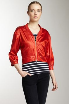 Armani Jeans 3/4 Sleeve Satin Cropped Jacket in Mango on @HauteLook