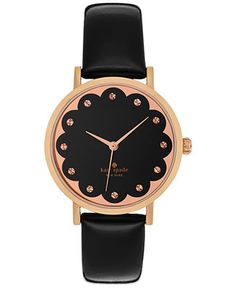 kate spade new york Women's Metro Black Patent Saffiano Leather Strap Watch 34mm 1YRU0583 - Kate Spade - Jewelry & Watches - Macy's
