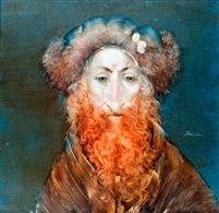 Szakállas férfi szőrme kucsmában by Endre Szasz