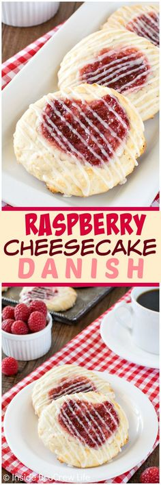 Raspberry Cheesecake Danish - a sweet cheesecake and raspberry preserve center makes this easy homemade pastry recipe a great breakfast or after school snack.