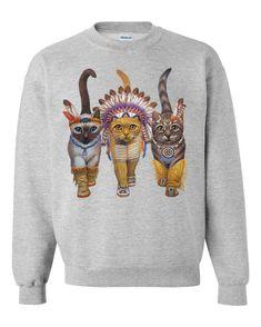 CAT SWEATSHIRT INDIANS unisex pullover crew neck  by skipnwhistle, $29.00