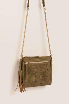 446debde19ac Montana Perforated Square Crossbody Tan Bag