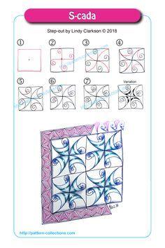 Afbeeldingsresultaat voor s-cada zentangle Zen Doodle Patterns, Doodle Art Designs, Zentangle Patterns, Doodle Borders, Zentangle Drawings, Doodles Zentangles, Doodle Drawings, Zantangle Art, Zen Art