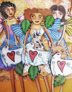 three butterfly fairies wrenrose birdandflower on Etsy paper dolls