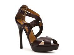 Love the Dark Burgundy color. Ralph Lauren Collection Jesita Leather Peep Toe Sandal