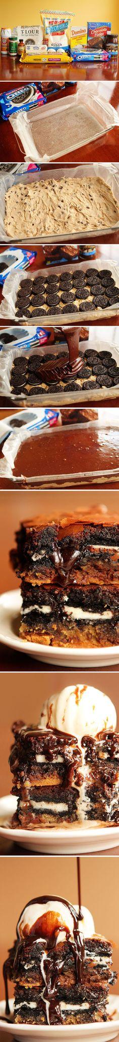 Pecados de Reposteria Barras de galleta, brownie de chocolate y Oreos - Pecados de Reposteria
