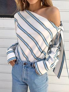 New White Striped Asymmetric Shoulder Bow Long Sleeve Fashion Blouse Blouses and Tops wonder woman shirt cape plus size Trend Fashion, Look Fashion, Fashion Outfits, Fashion Blouses, Fashion Spring, Fashion Women, Latest Fashion, Fashion Online, 50 Fashion