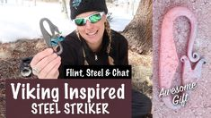 Viking inspired steel striker - Flint & Steel and Chat - Woman Outdoors - Spirit Forest - -Ep