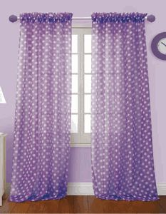Polka Dot bright sheer voile curtain panels will brighten any room in your home. These sheer curtains are great in kid's rooms. #KidsCurtains
