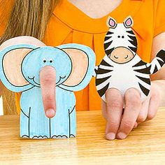 Make a whole zoo! Get creative with these elephant and zebra cut-out finger puppets. Kidfolio - the app for parents - kidfol.io. Nx