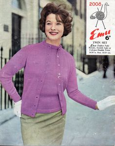"""vintage ladies 3ply twin set cardigan sweater knitting pattern PDF womens jumper jacket fitted round neck 34-38""""3 ply pdf instant download by Hobohooks on Etsy"""