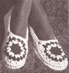 Crochet Ladies Slippers Crochet Pattern to Make Vintage Crochet * haken breien handwerk  Kijk op mijn handwerk pagina