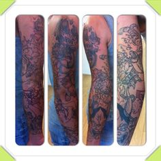 Tiger and flowers full  arm tattoo