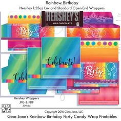 Printables - Rainbow Birthday Party SOE and Envelope Wrappers for Hershey Candy Bars - DAISIE COMPANY: Clipart, Printables, Graphics, DIY Crafts for Kids, Parties, Candy Wrappers, by artist Gina Jane for DAISIECOMPANY