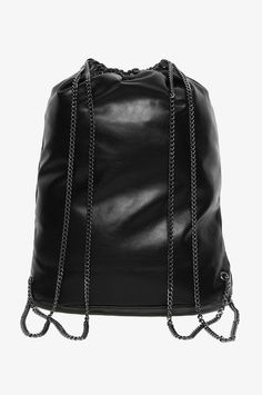 Black Leather Backpack with Chains