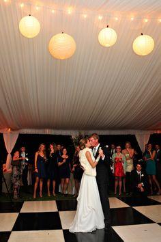 Lanterns in a tent reception.  Photo by Donna Von Bruening