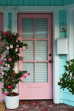 Front Door Paint Colors - Want a quick makeover? Paint your front door a different color. Here a pretty front door color ideas to improve your home's curb appeal and add more style! Teal Front Doors, The Doors, Front Door Colors, Wall Colors, Turquoise Door, Pink Turquoise, Beautiful Front Doors, House Beautiful, Beautiful Soul