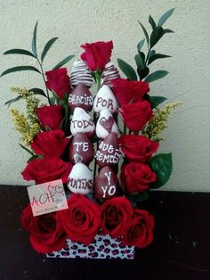 Bouquet de rosas y fresas