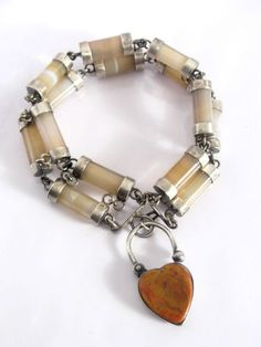 VICTORIAN SILVER AGATE BRACELET. Want to make a copy of this - maybe have a companion piece pendant with a key??