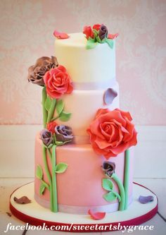 Romantic Rose Cake - Cake by sweetarts by grace