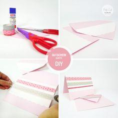DIY Gutscheinkarte mit Washi Tape Washi Tape, Personal Care, Handmade, Diy, Beauty, Gift Cards, Crafting, Self Care, Hand Made