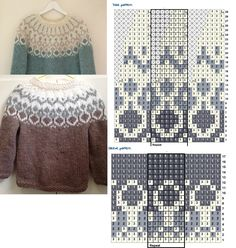 Fair Isle Knitting Patterns, Knitting Charts, Filet Crochet, Knit Crochet, Punto Fair Isle, Norwegian Knitting, Icelandic Sweaters, Nordic Sweater, Knit Art