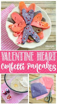 Homemade Valentine Heart Confetti Pancakes. Valentine Breakfast Idea. More Valentine Recipes and Crafts on Frugal Coupon Living.
