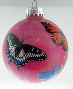 Hand Painted Glass Christmas Ornament  Butterflies by HarmanArt