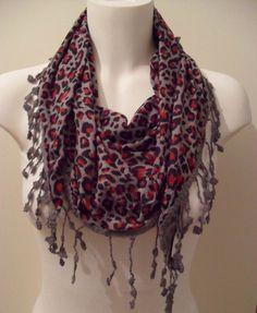Red and Grey Leopard Elegance Shawl / Scarf  with by SwedishShop, $15.90
