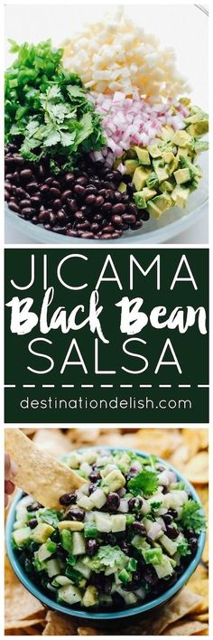 Jicama Black Bean Salsa | Destination Delish – a simple salsa with some serious crunch from the jicama and creaminess from the black beans and avocado. Serve with tortilla chips or top your grilled meat and seafood with it!