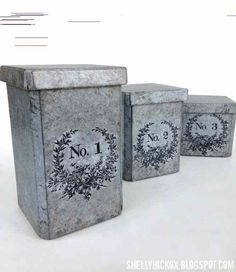 Stamptramp: DecoArt Media Faux Galvanized Canisters created with matboard, Canister die from and Media paints Corrugated Metal, Galvanized Metal, Canister Sets, Canisters, Spring Break Us, Decoupage, Funky Furniture, Painting Furniture, Furniture Design