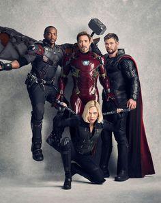 Avengers: Infinity War Falcon, Iron Man, Thor and the Black Widow Marvel Dc Comics, Marvel Avengers, Marvel Fanart, Iron Man Avengers, Avengers Cast, Marvel Memes, Avengers Team, Tony Stark, Black Widow