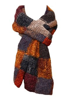 Knit Scarf   Patchwork in Burnt Orange Wine by StudioatRedTopRanch, $225.00