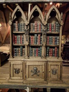 Miniature Gothic furniture, bookcase with old books