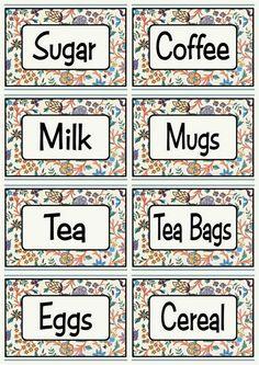 Engelske køkken labels blomstret