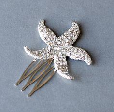 25% off Rhinestone Bridal Hair Comb Beach Wedding Jewelry Crystal Starfish Clip FREE Shipping US CM031LX. $21.00, via Etsy.